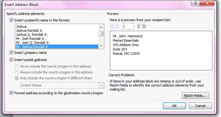 mail merge address block