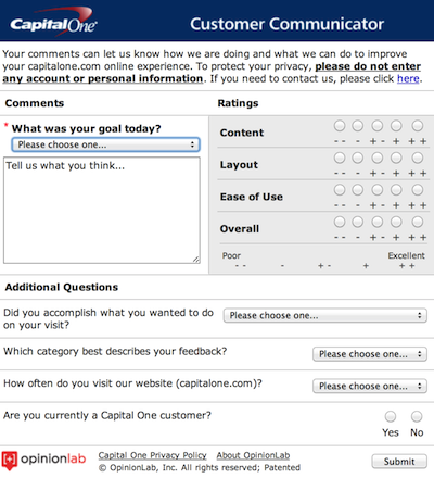capital one feedback form