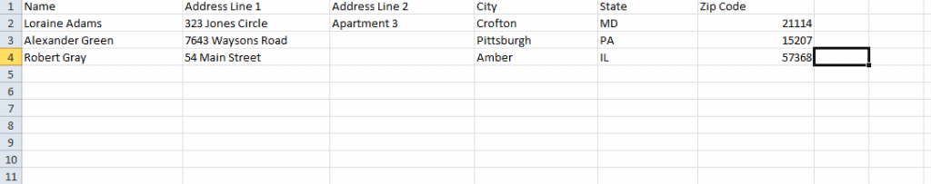excel contact list