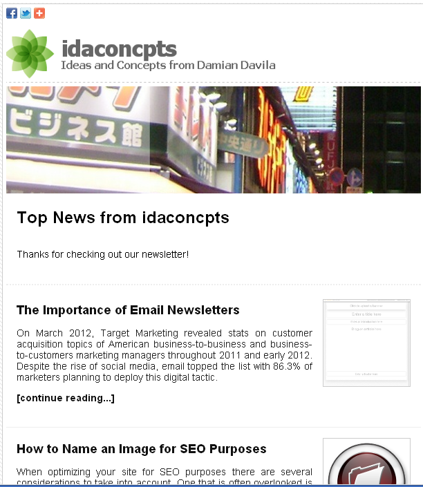 flashissue newsletter example