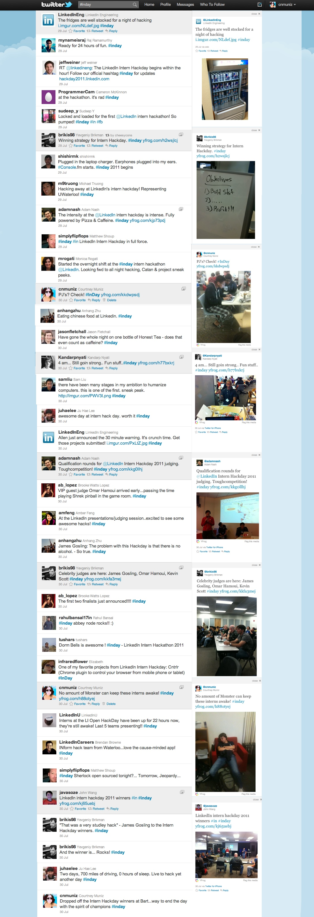 linkedin intern hackday tweetstream