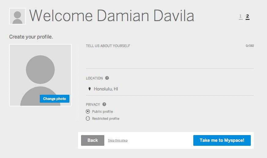 new myspace create profile