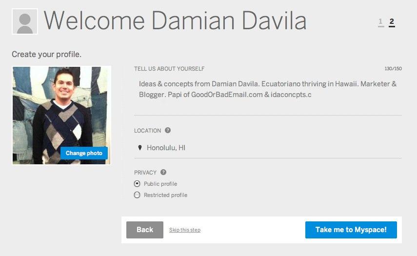 new myspace profile view