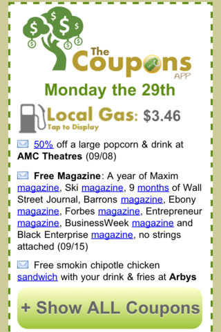 the coupons app iphone
