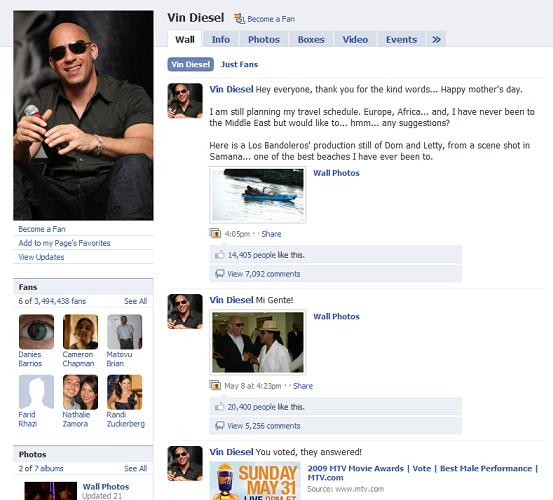 vin diesel facebook page
