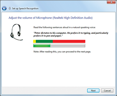 windows 7 speech recognition settings