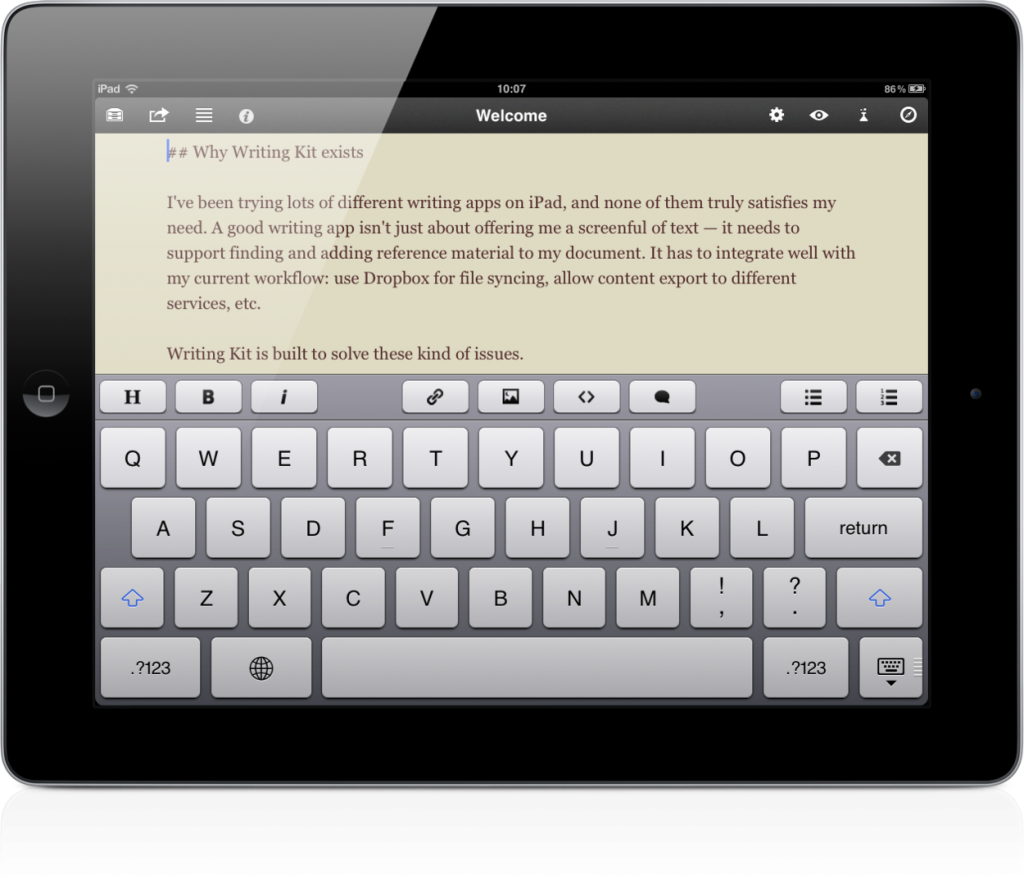writing ipad app