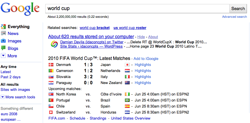 world cup google search