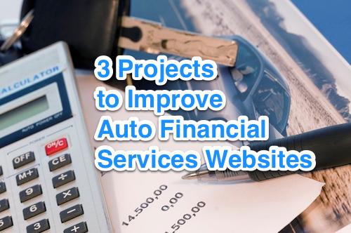 improve auto financial services websites